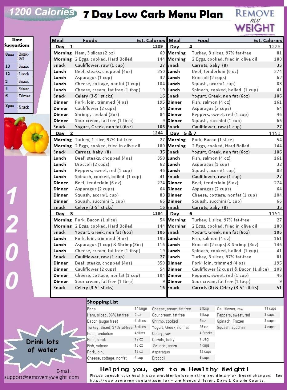 Low Carb Diet Menu Plan - Free Printable 7 Day 1200 Calories A Day - Free Printable Low Carb Diet Plans