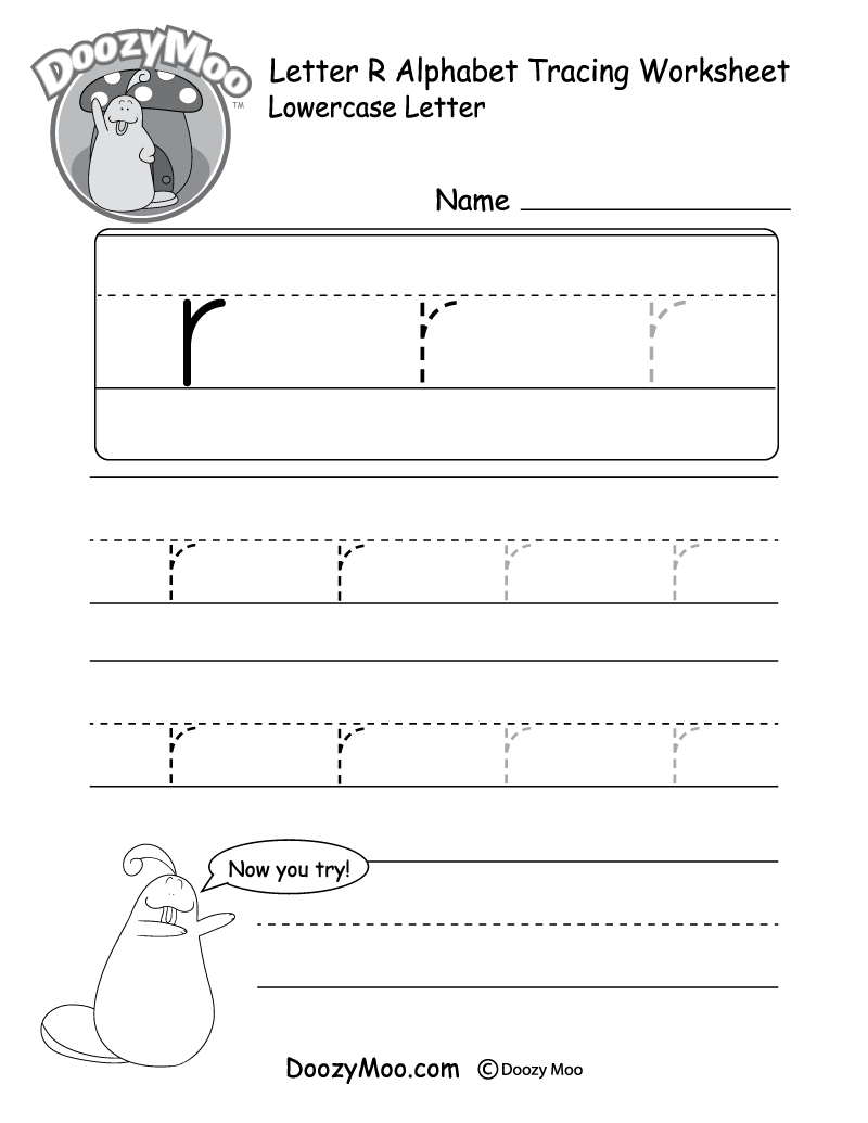 """Lowercase Letter """"r"""" Tracing Worksheet - Doozy Moo - Free Printable Preschool Worksheets For The Letter R"""