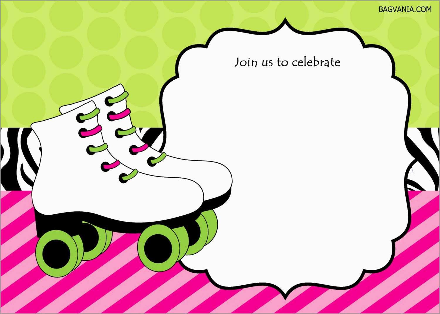 Luxury Skating Party Invitation Template Free   Best Of Template - Free Printable Roller Skate Template