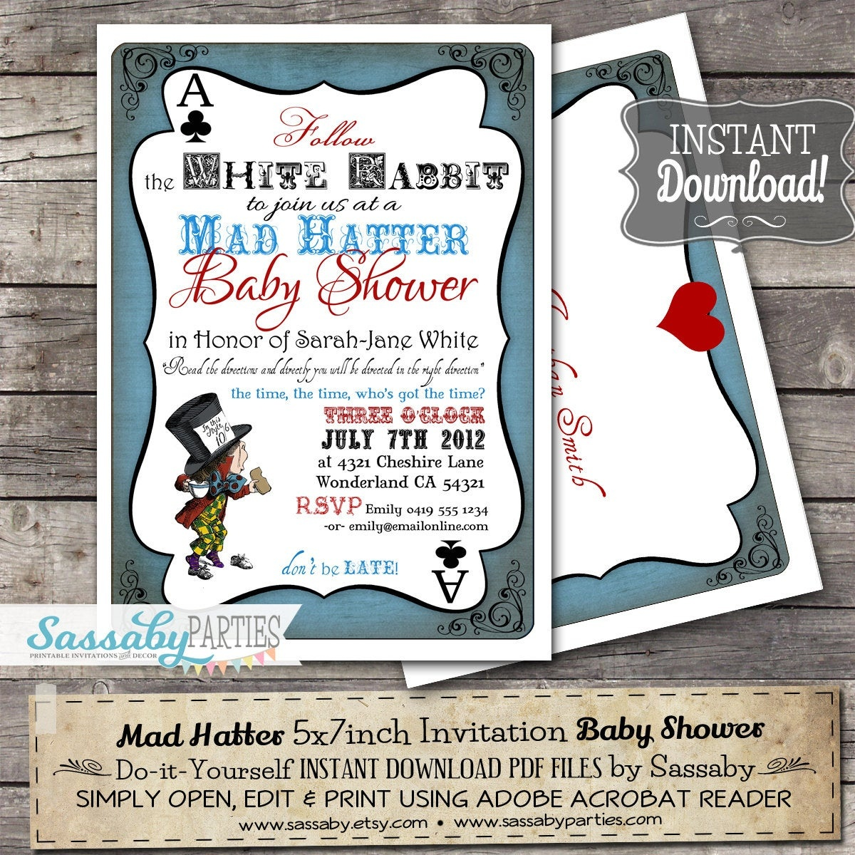Mad Hatter Baby Shower Invitation Instant Download | Etsy - Mad Hatter Tea Party Invitations Free Printable
