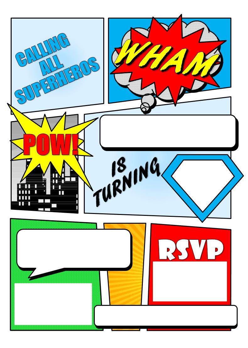 Make Your Own Comic Book Printable | Superhero Comic Book Party - Free Printable Superhero Birthday Invitation Templates