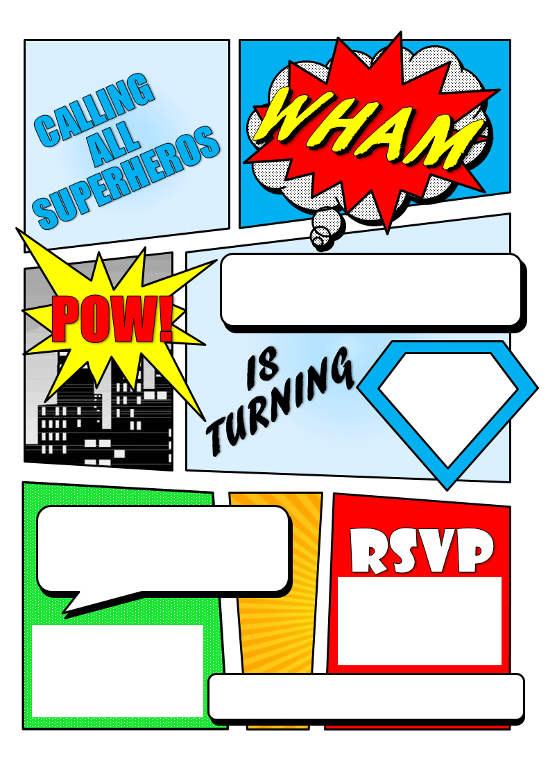 Make Your Own Comic Book Printable | Superhero Comic Book Party - Make Your Own Birthday Party Invitations Free Printable