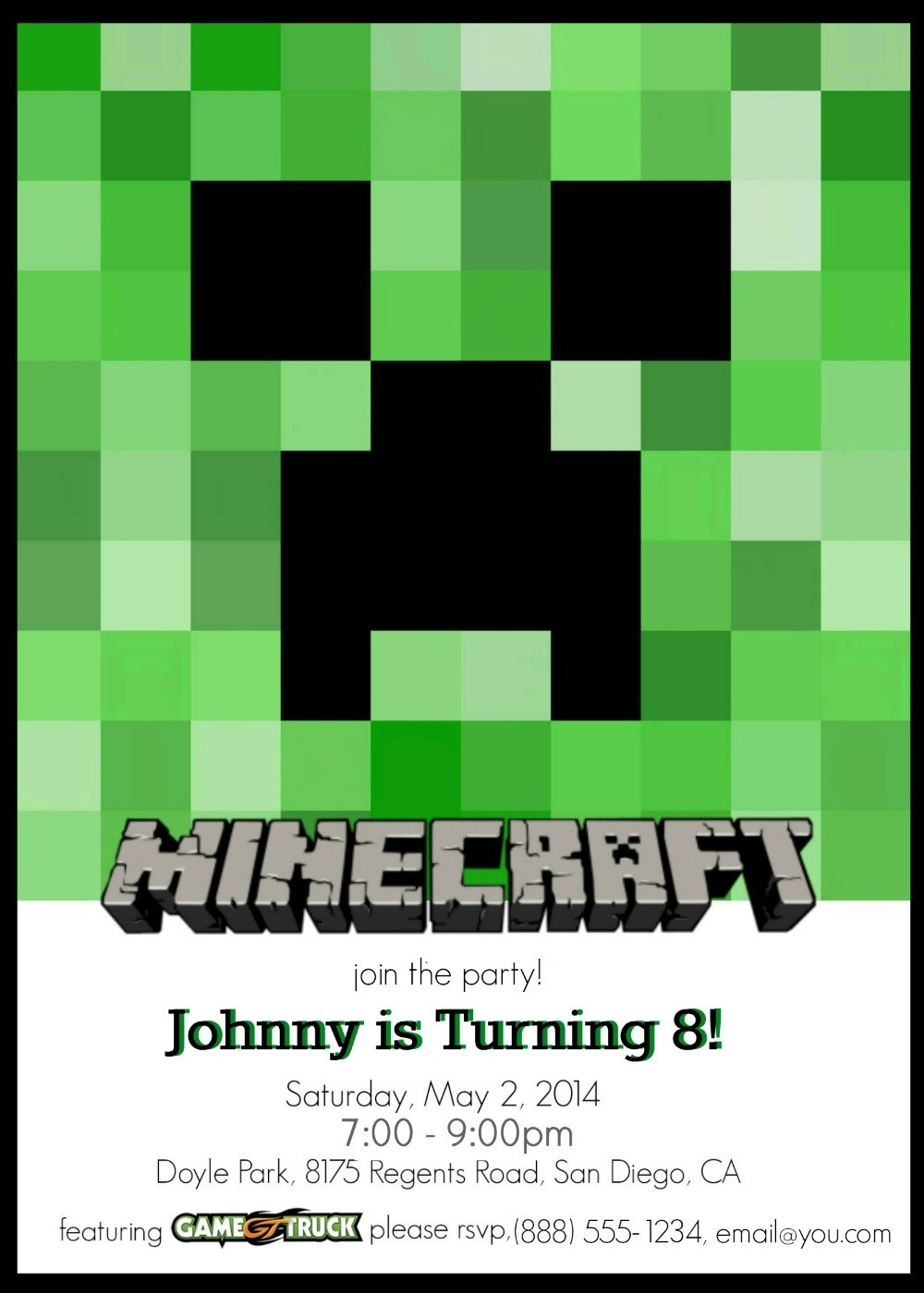 Make Your Own Custom Printable Minecraft Party Invitations - Free Printable Minecraft Invitations