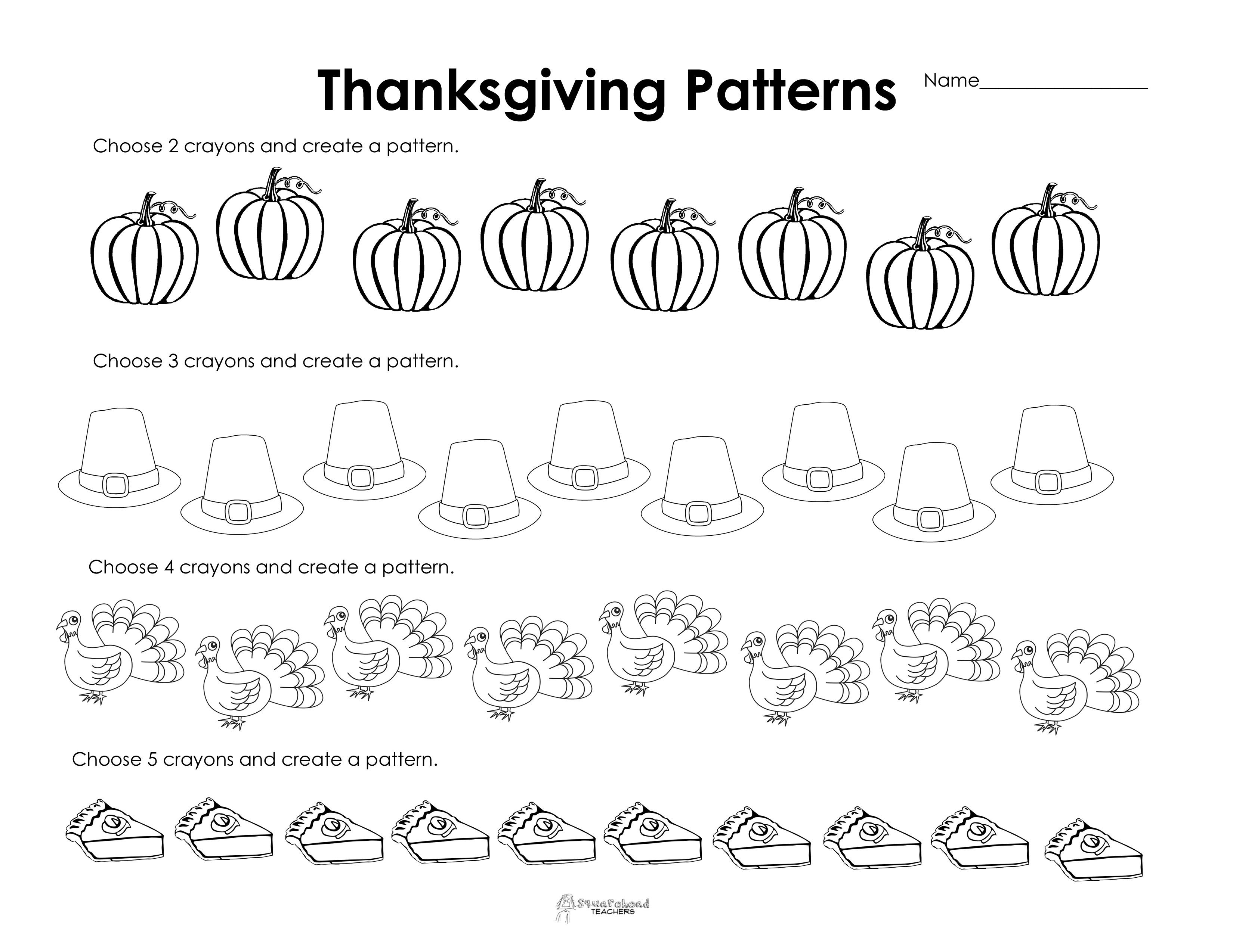 Making Patterns: Thanksgiving Style (Free Worksheet!)   Squarehead - Free Printable Thanksgiving Worksheets