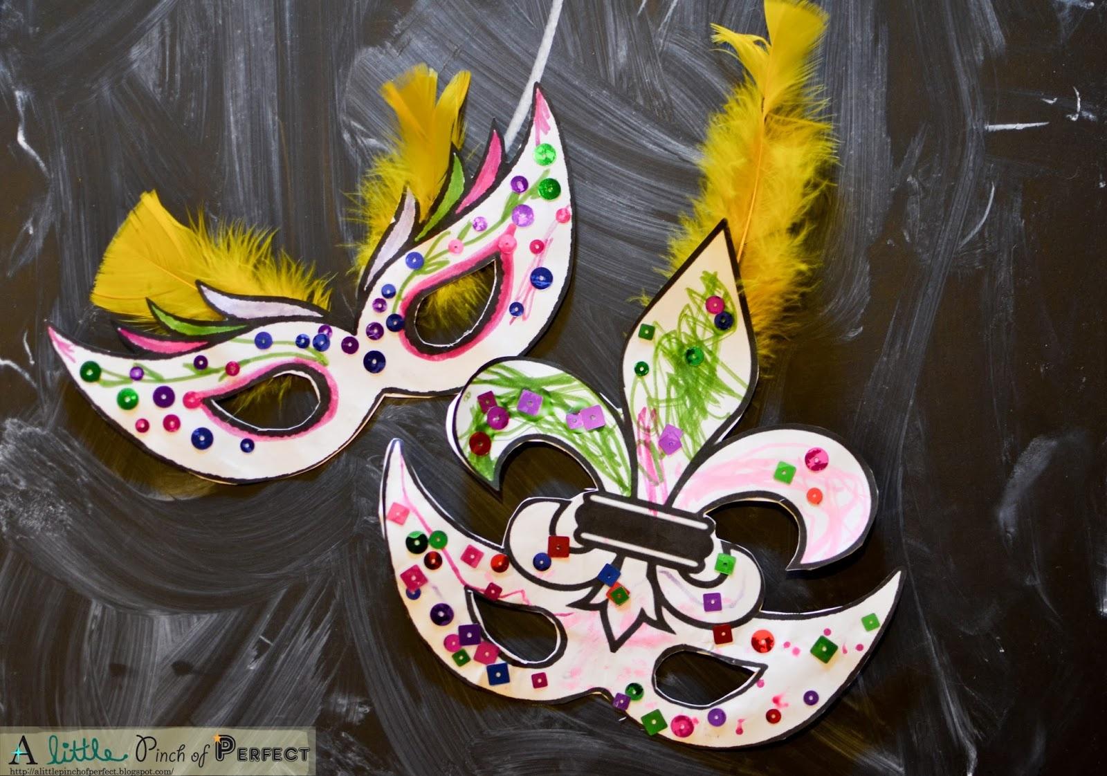 Mardi Gras Masks-Kids Activity (Free Printable With 2 Masks) - - Free Printable Mardi Gras Masks