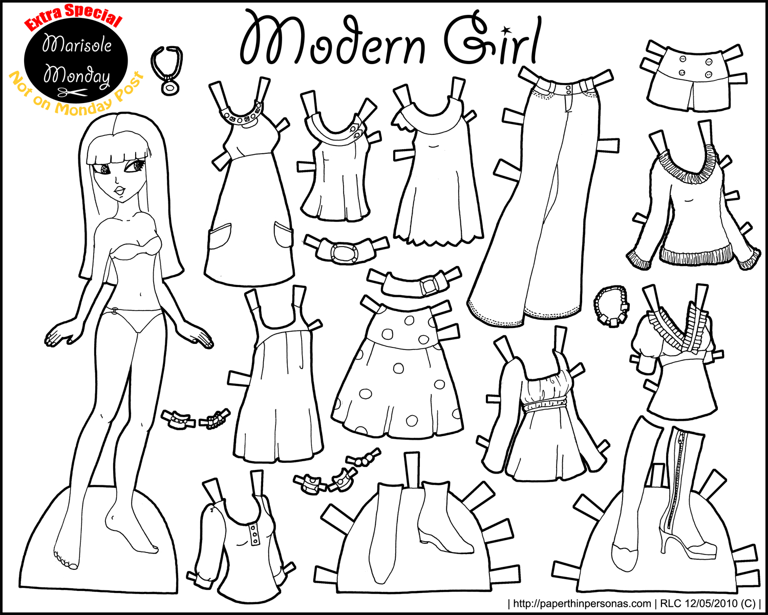 Marisole Monday: Modern Girl In Black & White | Coloring Pages - Printable Paper Dolls To Color Free