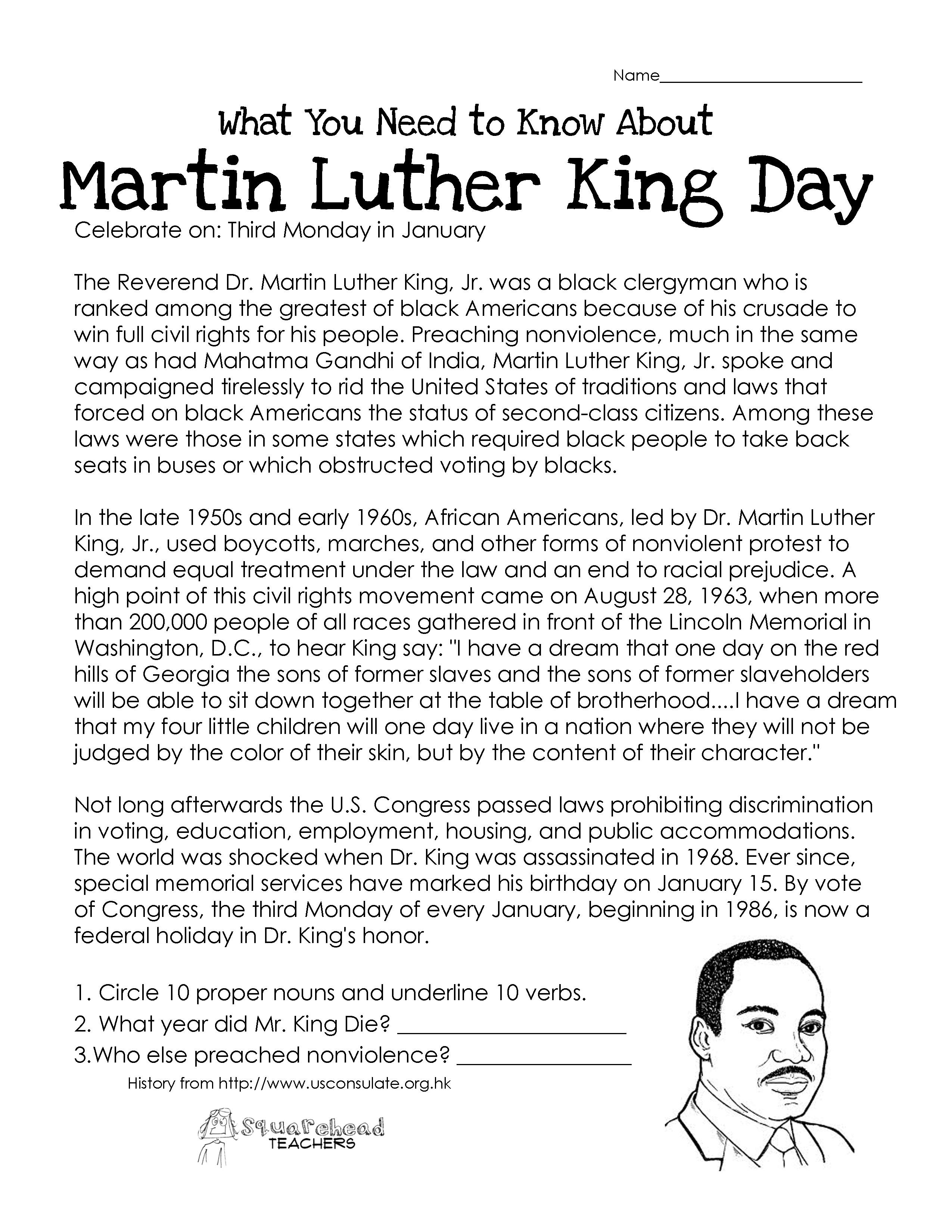 Martin Luther King Day (Free Worksheet)   Squarehead Teachers - Free Printable Martin Luther King Jr Worksheets For Kindergarten