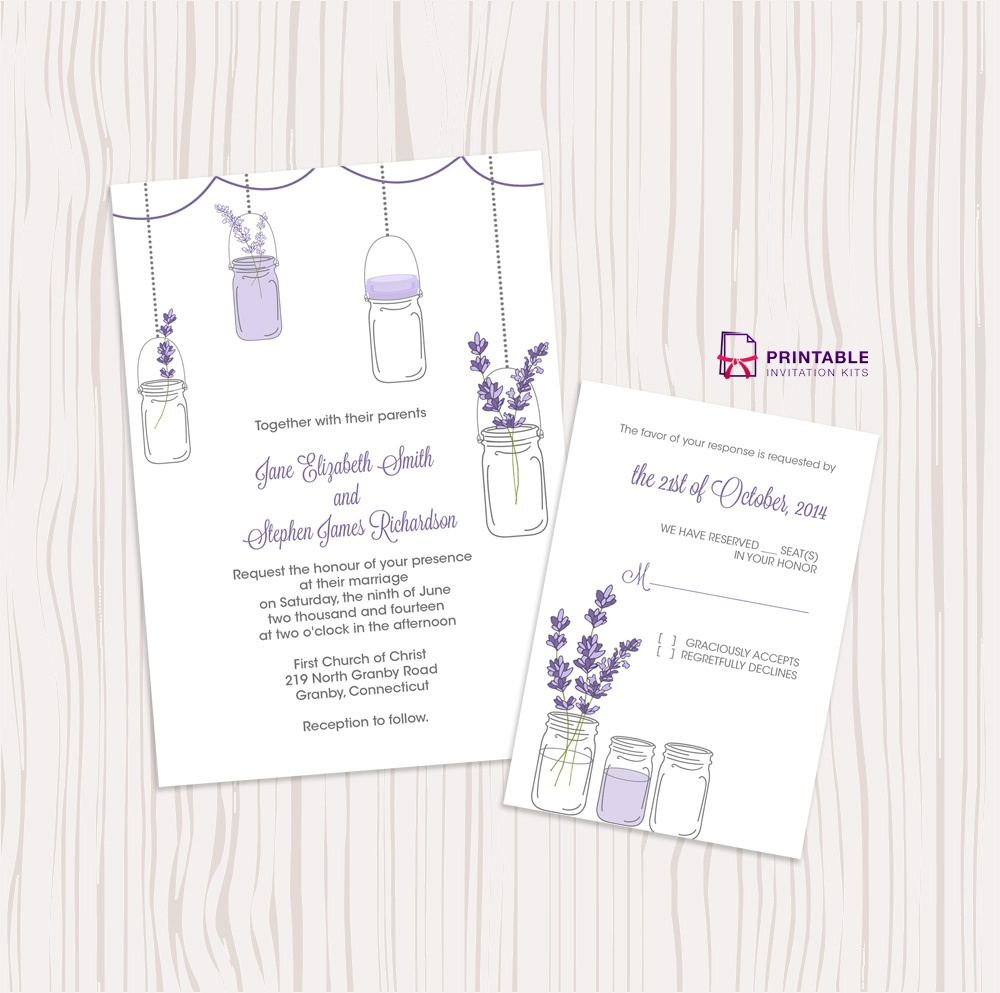 Mason Jar And Lavender Invitation And Rsvp Set ← Wedding Invitation - Free Mason Jar Wedding Invitation Printable Templates