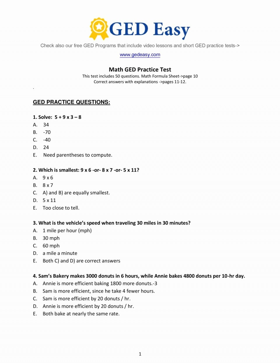 Mathts Printable Ged Practice Test With Answers Unique Best Of To - Free Printable Ged Worksheets