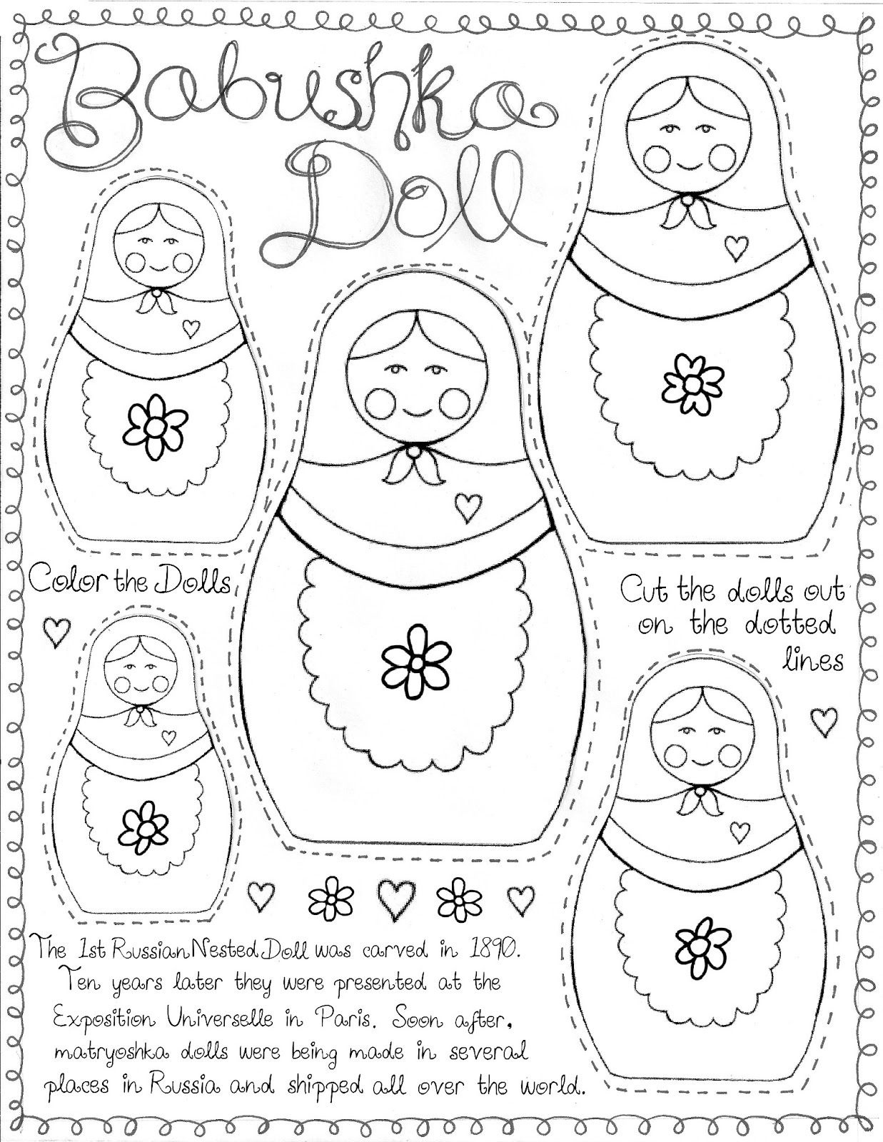 """Matryoshka Doll"""" Printable For """"around The World"""" Culture Study - Free Printable Paper Dolls From Around The World"""