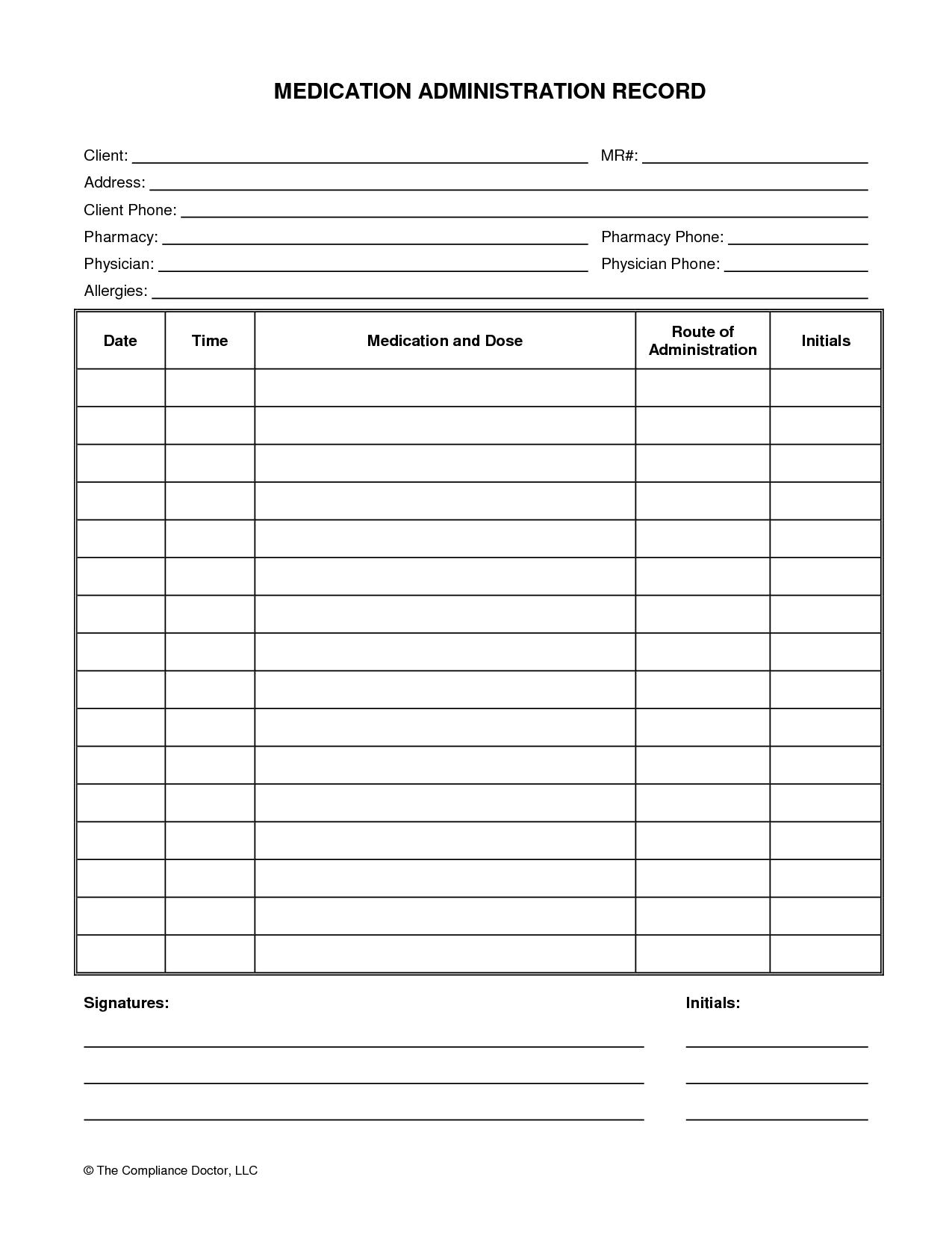 Medication Administration Record Form | Organization | Medication - Free Printable Daily Medication Chart