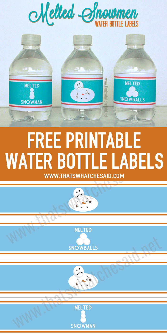 Melted Snowman Water Bottle Labels | Holiday: Christmas | Printable - Christmas Water Bottle Labels Free Printable