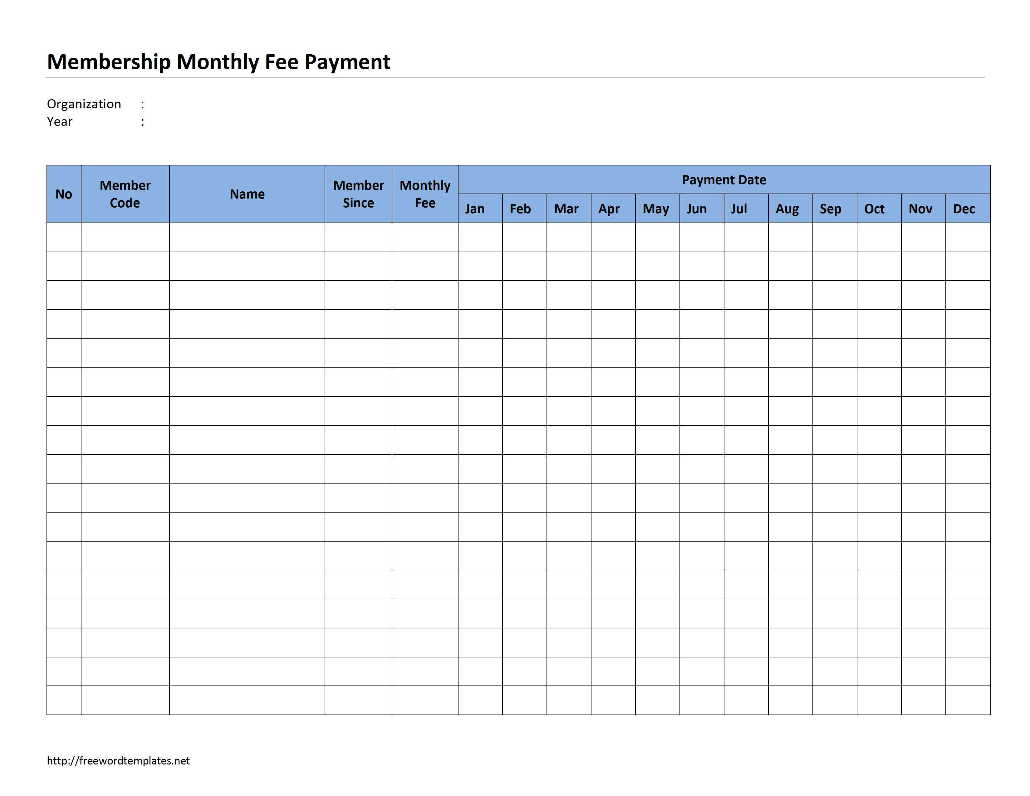 Membership Monthly Fee Payment - Free Printable Monthly Bill Payment Worksheet