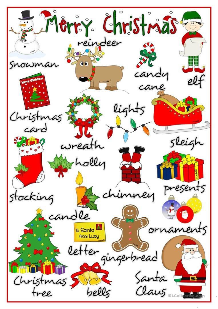 Merry Christmas - Pictionary Worksheet - Free Esl Printable - Free Printable Christmas Pictionary Cards