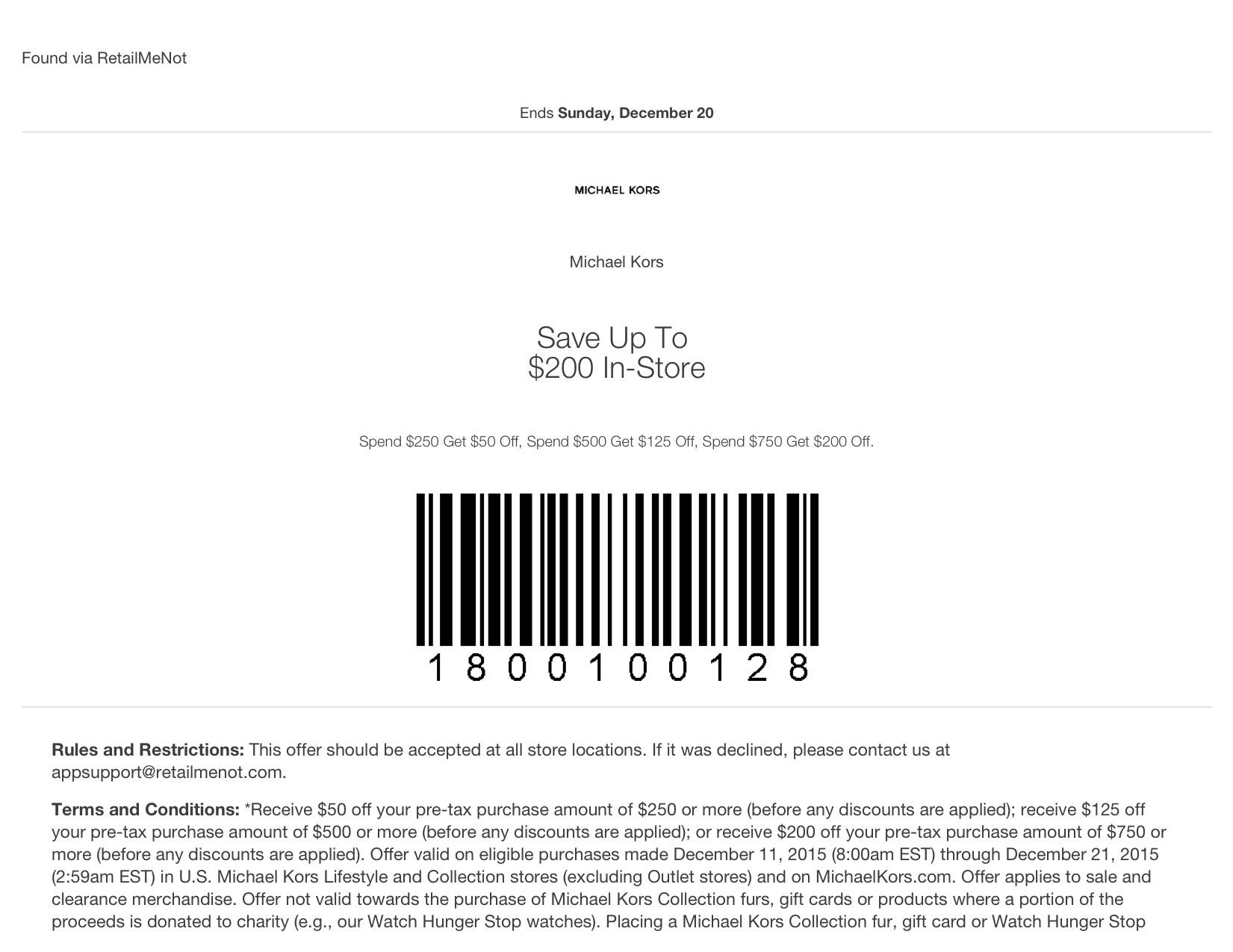 Michael Kors Coupons In Store & Online (Printable Coupons) - Free Printable Michaels Coupons