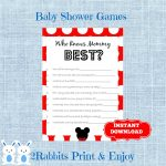 Mickey Mouse Baby Shower Game Who Knows Mommy Best Disney | Etsy   Free Printable Mickey Mouse Baby Shower Games