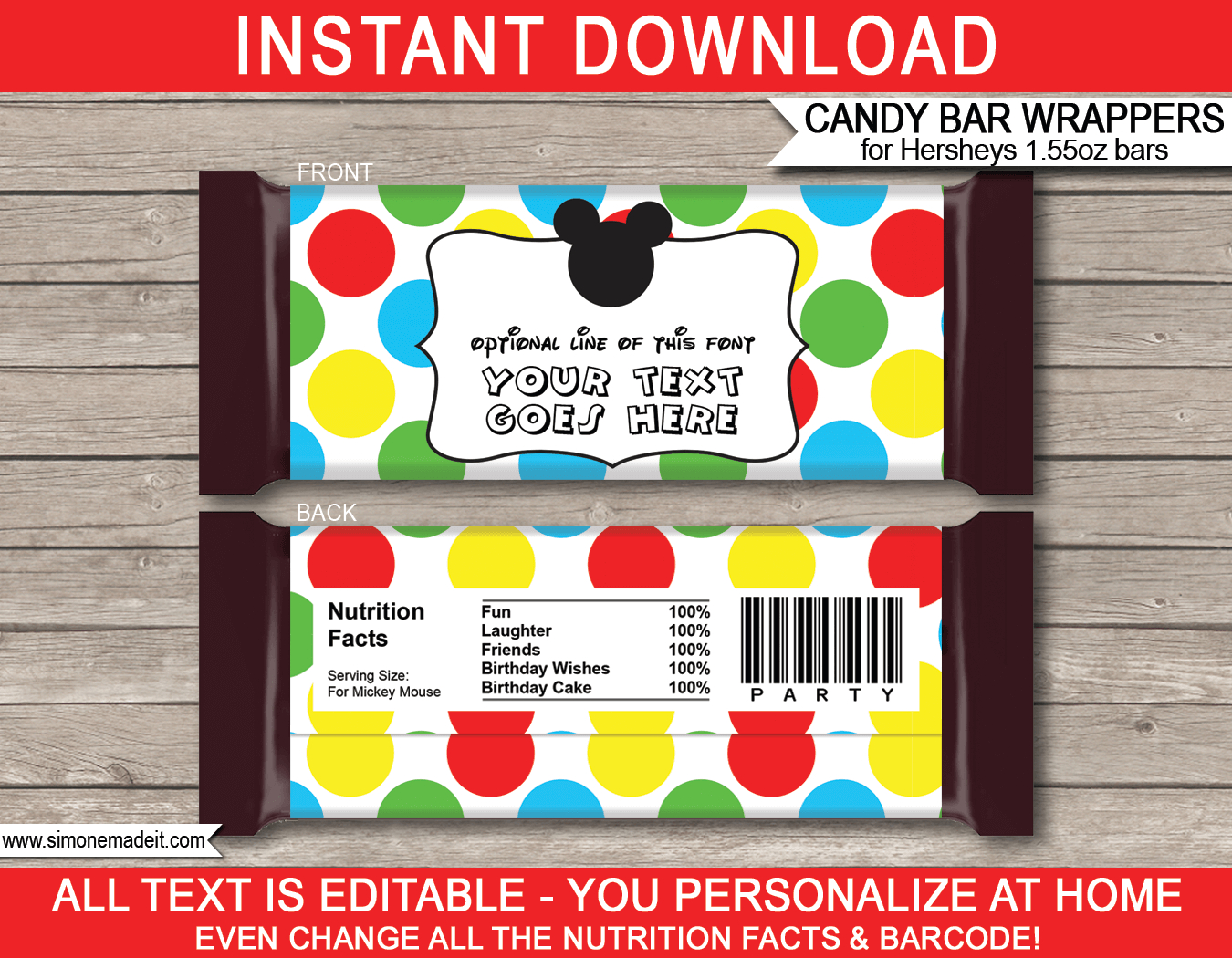 Mickey Mouse Hershey Candy Bar Wrappers | Personalized Candy Bars - Free Printable Birthday Candy Bar Wrappers