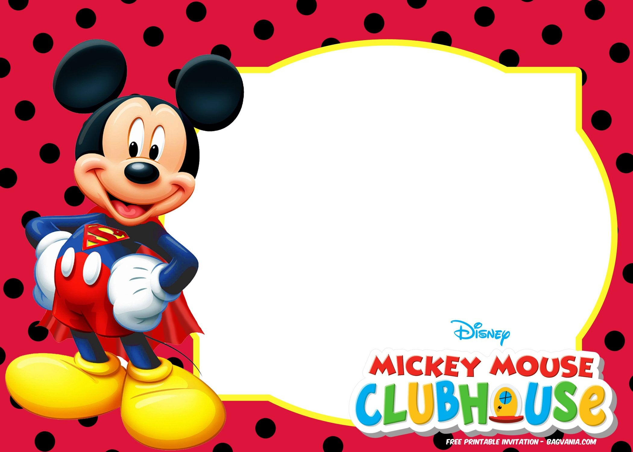 Mickey Mouse Invitations Template Free - Tutlin.psstech.co - Free Printable Mickey Mouse Birthday Invitations