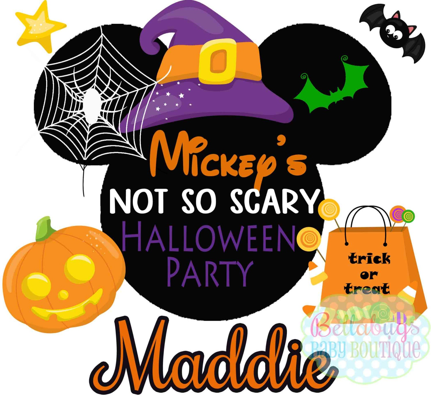 Mickey's Not So Scary Halloween Party Printable Digital | Etsy - Free Printable Halloween Iron Ons