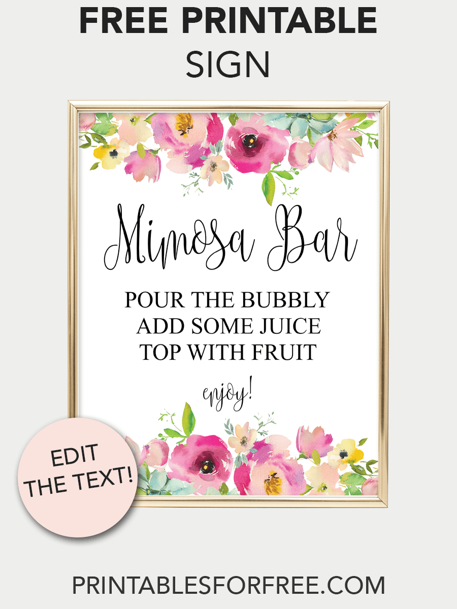 Mimosa Bar Printable Sign (Pink Floral In 2019 | Baby D | Mimosa Bar - Free Printable Mimosa Bar Sign