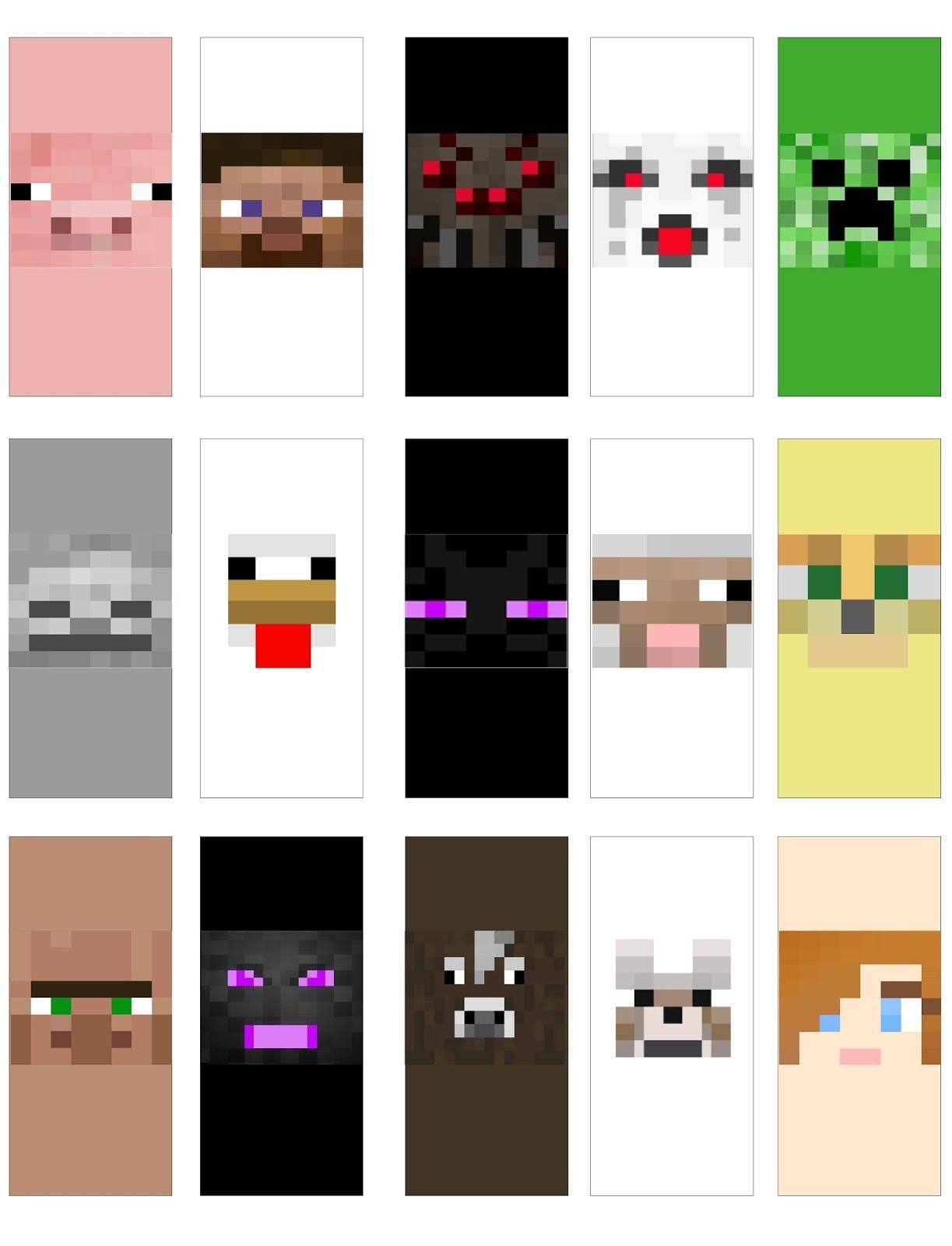 Minecraft Faces Mini Candy Bar Wrappers | Maso | Minecraft Face - Free Printable Minecraft Cupcake Toppers And Wrappers