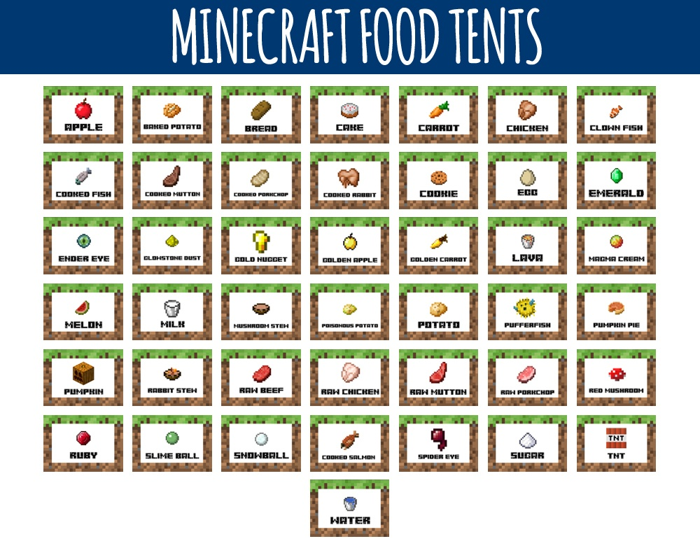 Minecraft Food Labels - Minecraft Food Tents -Littlelight On - Free Printable Minecraft Food Labels