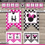 Minnie Mouse Party Banner Template | Birthday Banner | Editable Bunting   Free Printable Mickey Mouse Birthday Banner