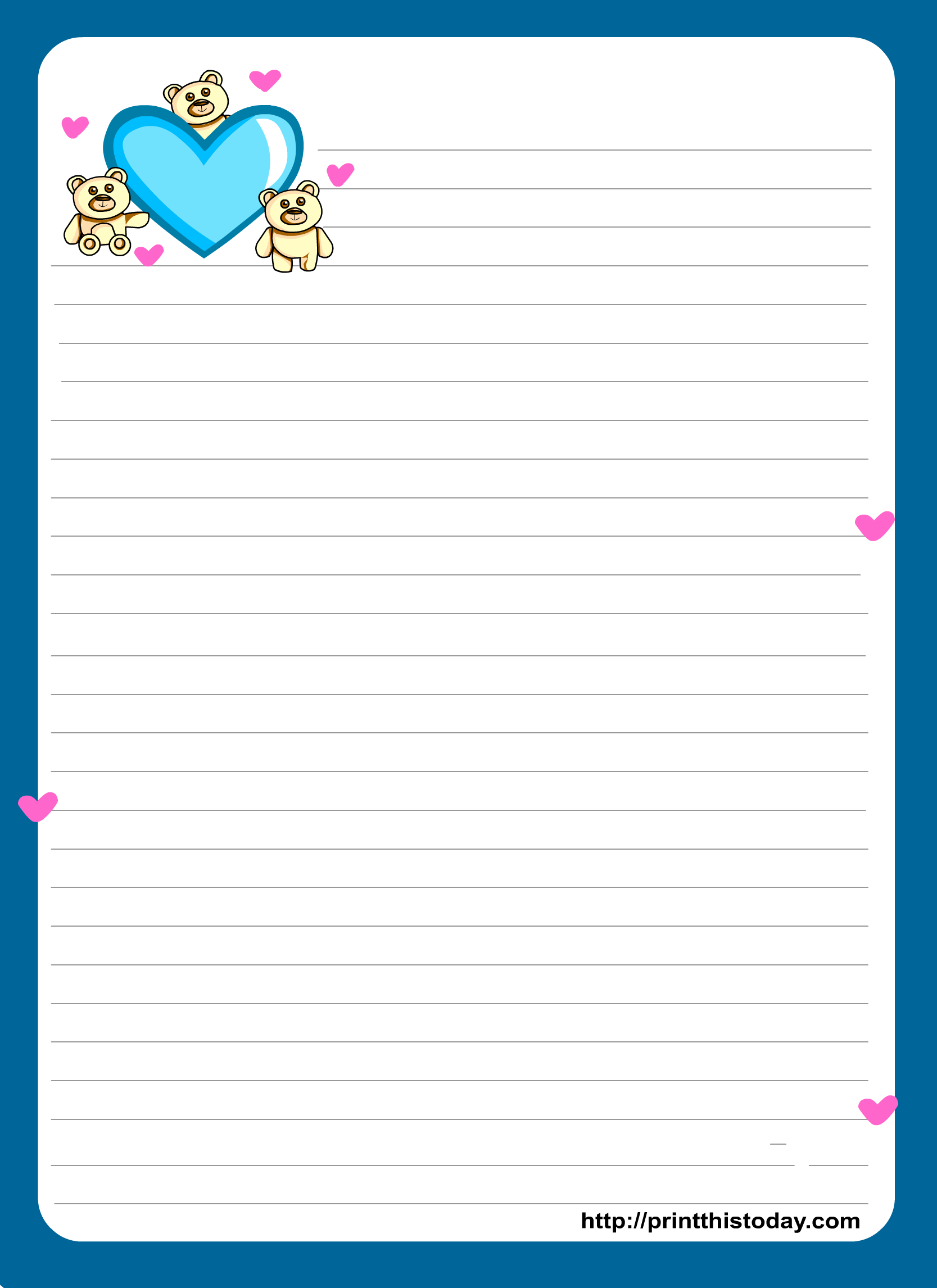 Miss You Love Letter Pad Stationery   Lined Stationery   Free - Free Printable Love Letter Paper