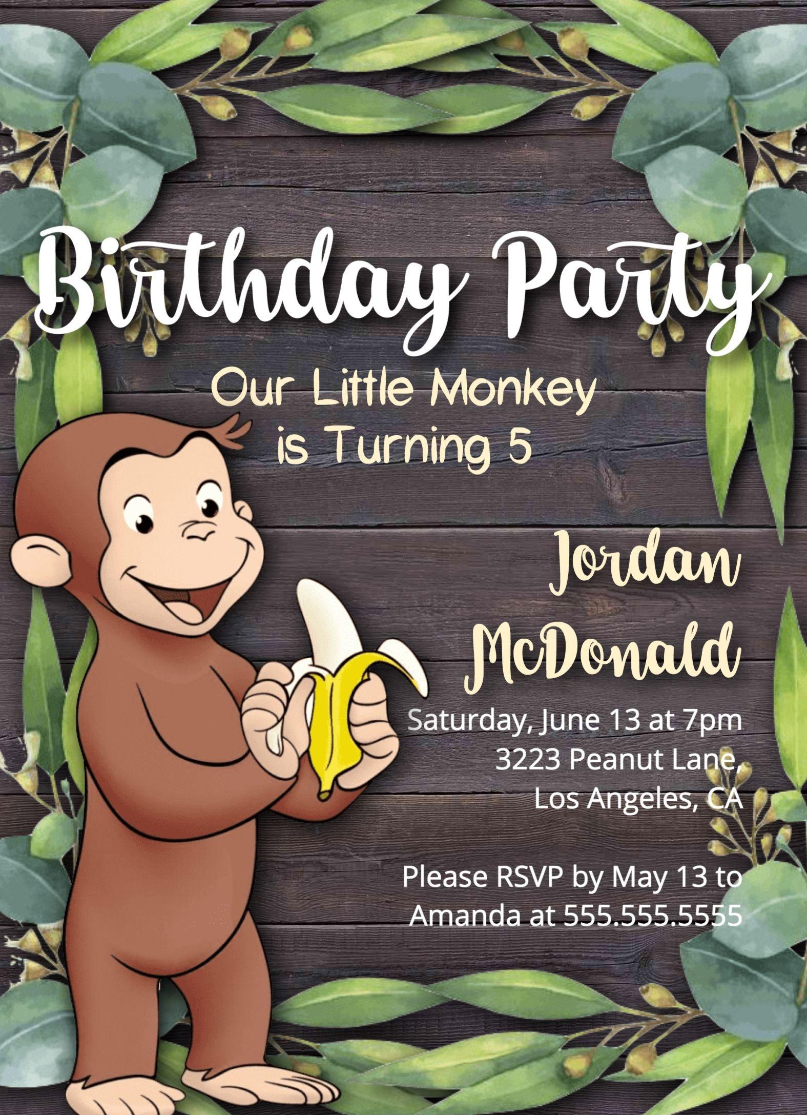 Monkey Theme Birthday Party, Monkey Birthday Party Invitation - Free Printable Monkey Birthday Party Invitations