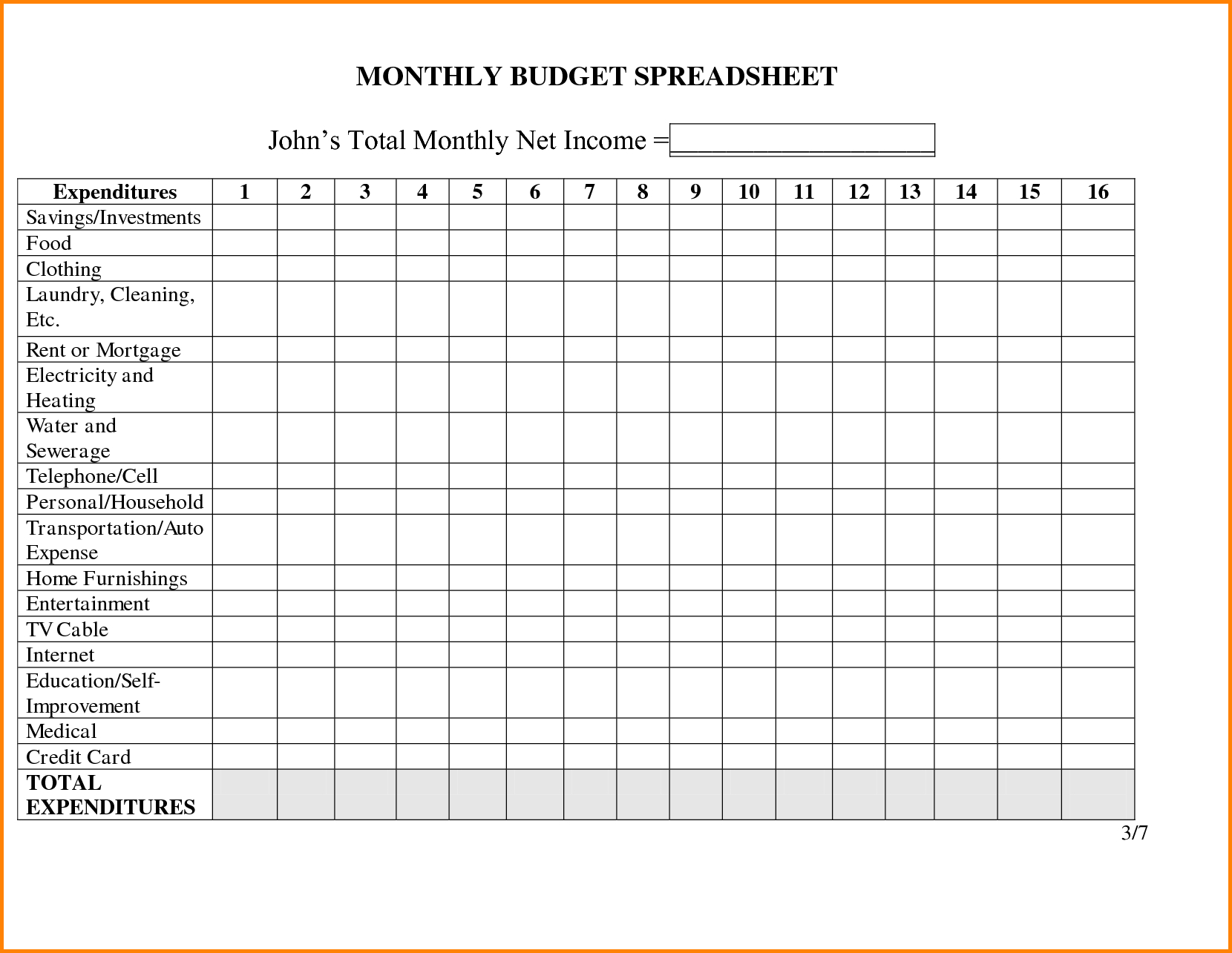 Monthly Household Budget Adsheet Family Template Worksheet Printable - Free Printable Monthly Household Budget Sheet