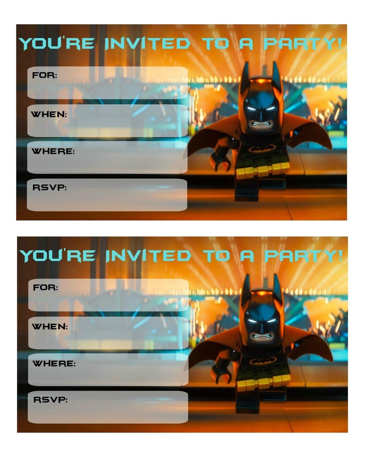 More Lego Batman Party Invitations | Lego Batman-Super Heros - Lego Batman Invitations Free Printable