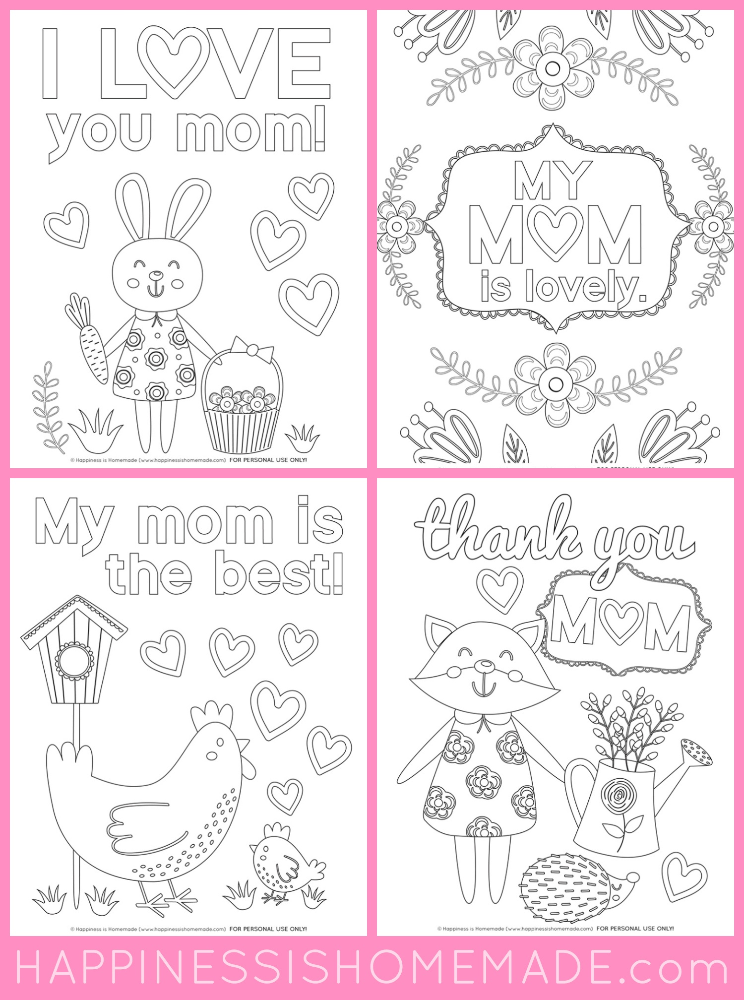 Mother's Day Coloring Pages - Free Printables - Happiness Is Homemade - Free Printable Mothers Day Cards To Color
