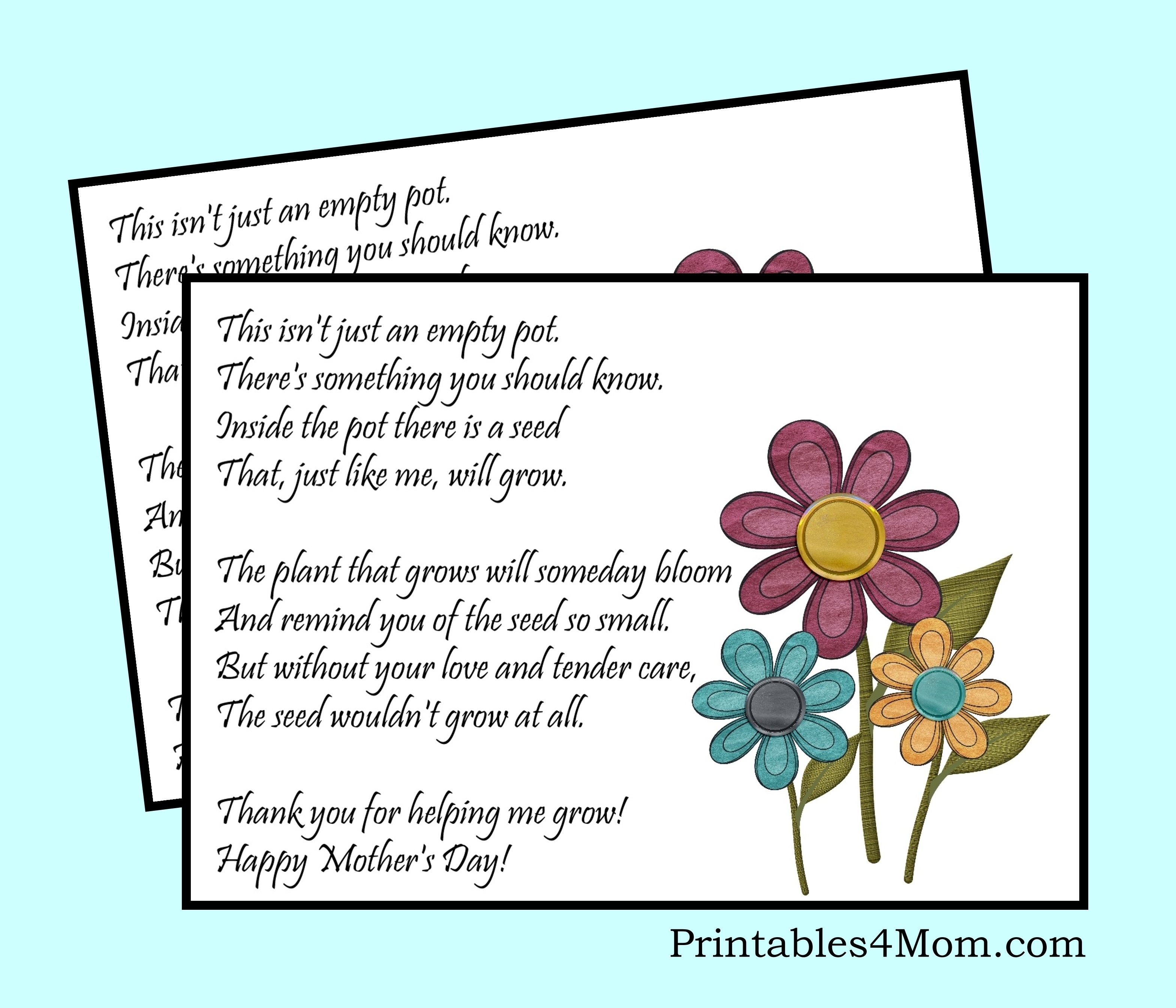 Mother's Day Empty Pot Gift Idea With Free Printable - Printables 4 Mom - Free Printable Mothers Day Poems
