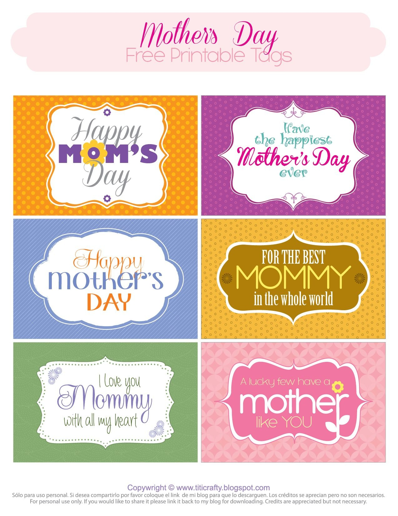 Mother's Day Free Printable Tags | *{Tcn} Freebies | Mothers Day - Free Printable Mothers Day Cards No Download