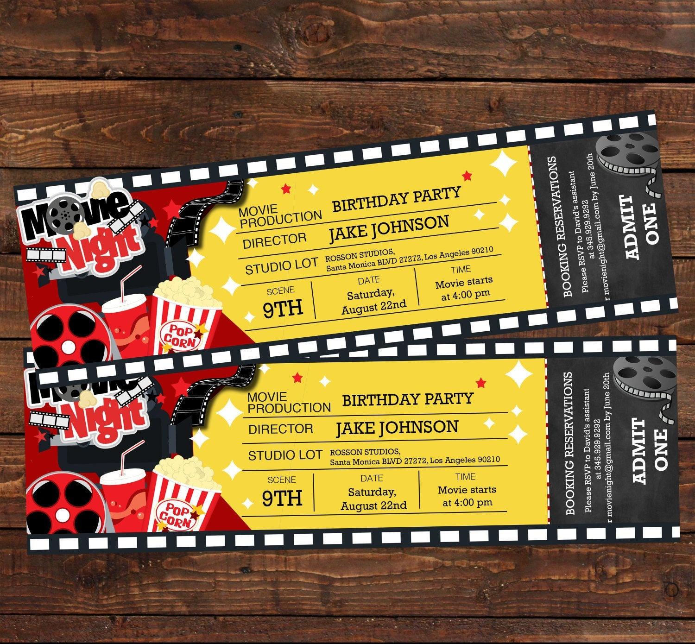 Movie Ticket Birthday Invitation Movie Party Invitation | Etsy - Free Printable Movie Ticket Birthday Party Invitations