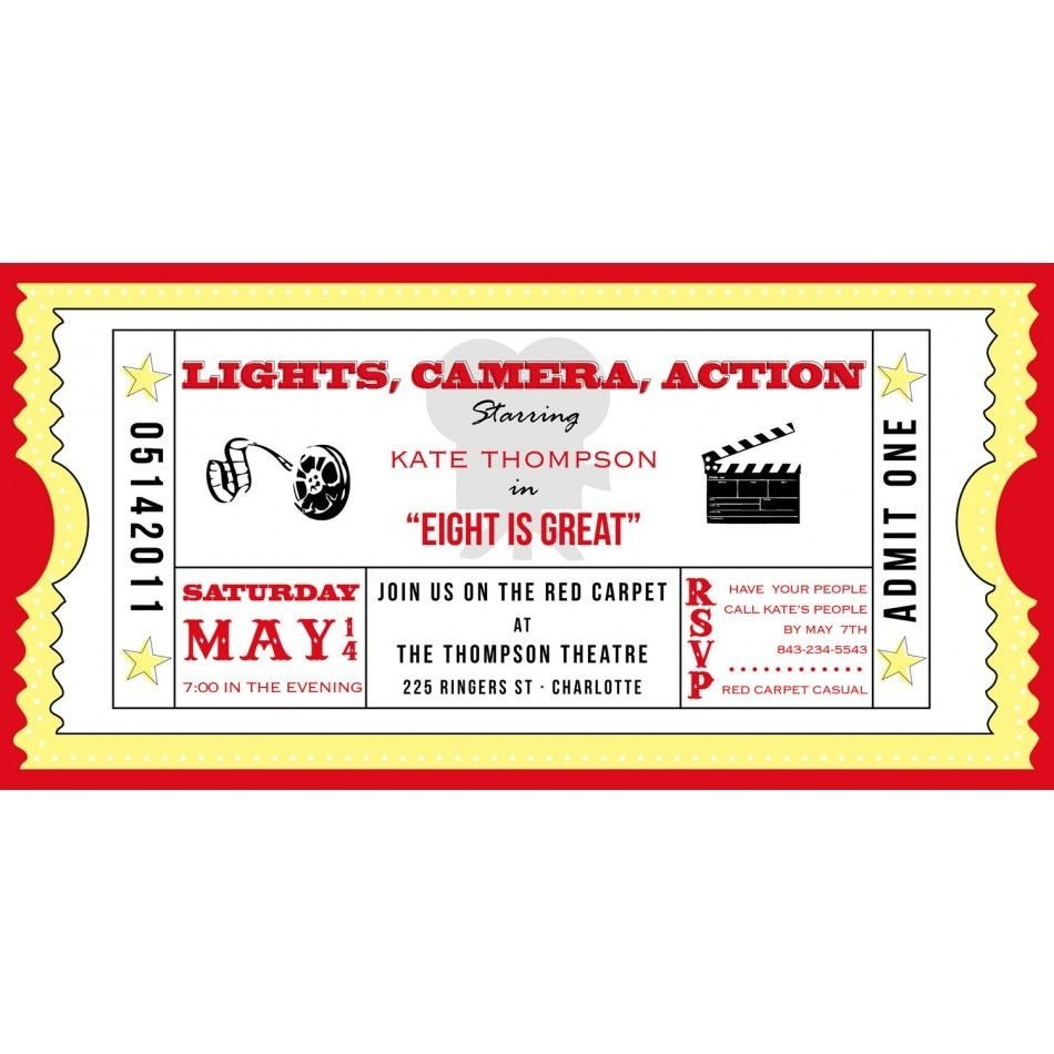 Movie Ticket Cinema Drive-In Birthday Party Printable Invitation - Free Printable Movie Ticket Birthday Party Invitations