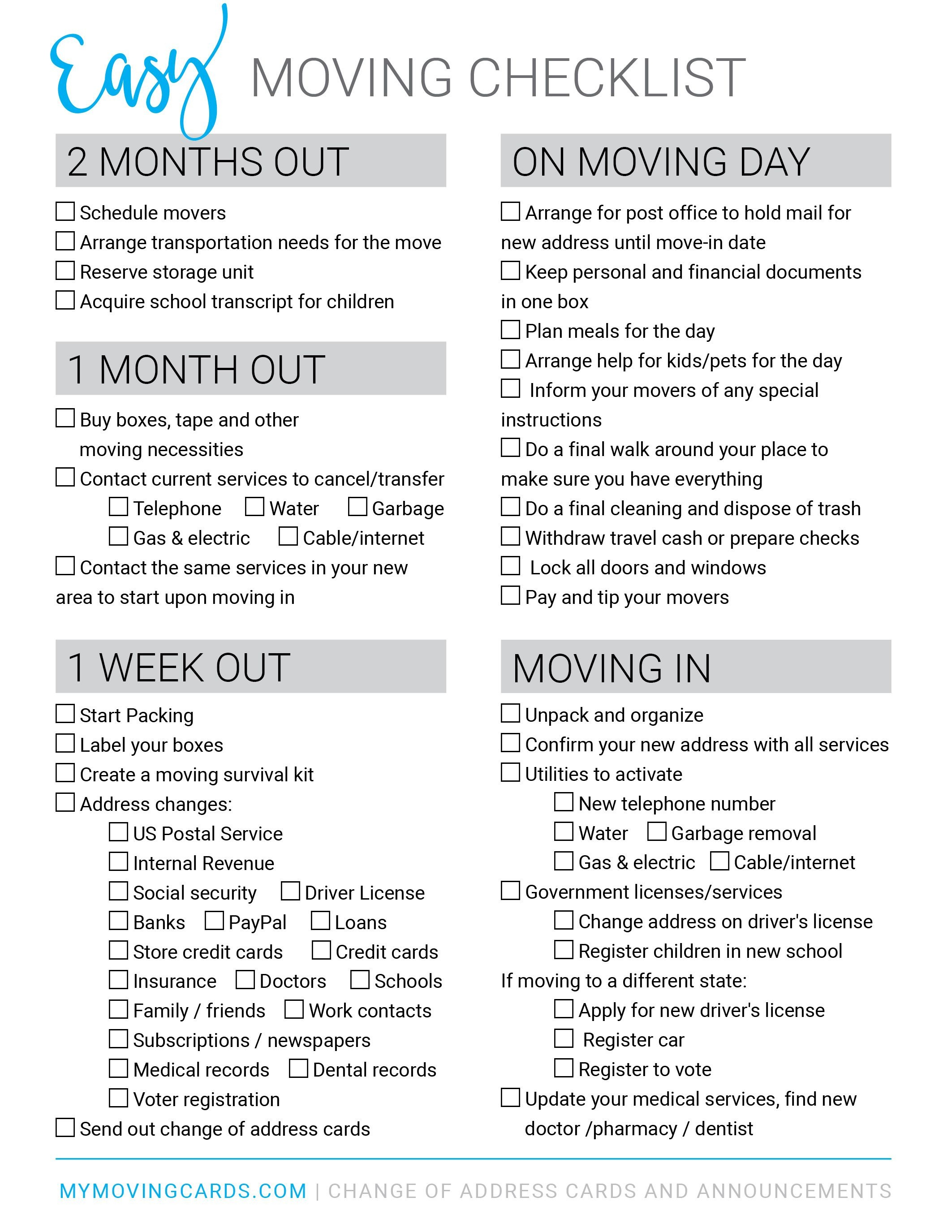 Moving Checklist - Free Printable Download | Moving Cards In 2019 - Free Printable Change Of Address Cards