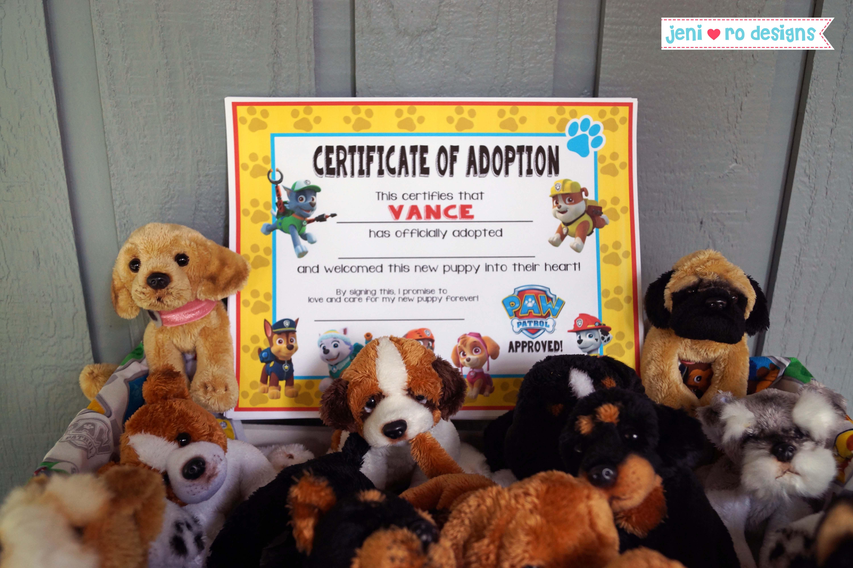 Mr. V's Paw Patrol 4Th Birthday Party - The Fun! • - Free Printable Stuffed Animal Adoption Certificate