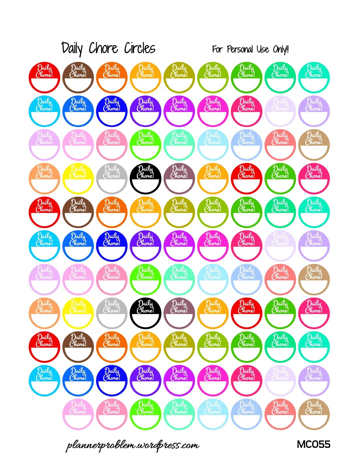 Multicolor Daily Chore Labels! {Glitter & Solid} | Free Printable - Chore Stickers Free Printable