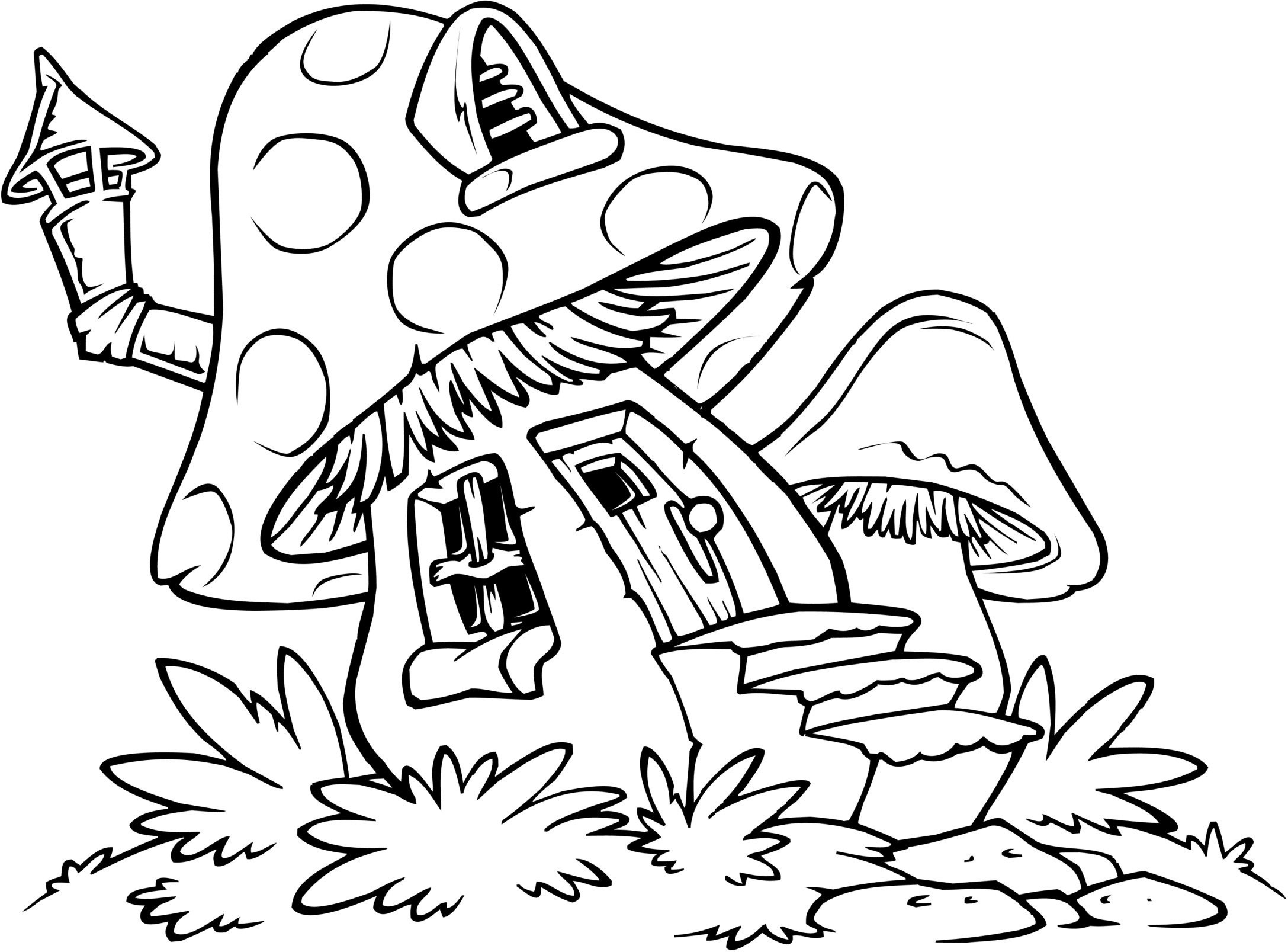 Mushroom House Coloring Pages | Coloring Pages | Easy Coloring Pages - Free Printable Mushroom Coloring Pages