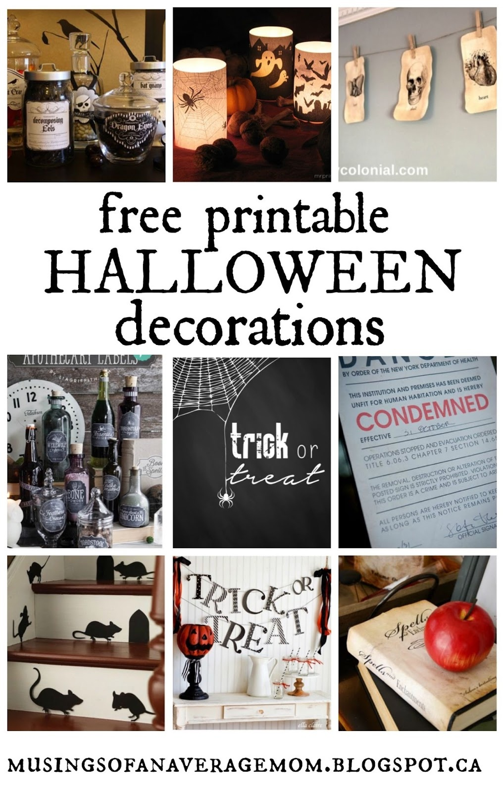 Musings Of An Average Mom: Free Printable Halloween Decorations - Free Printable Halloween Decorations
