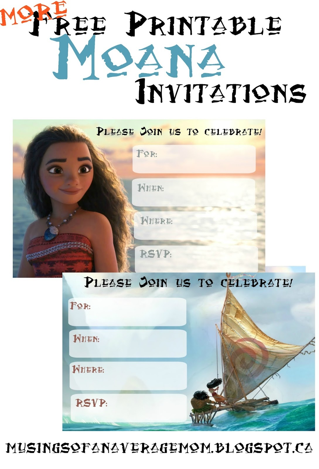 Musings Of An Average Mom: Free Printable Moana Invitations 2 - Free Printable Moana Birthday Invitations