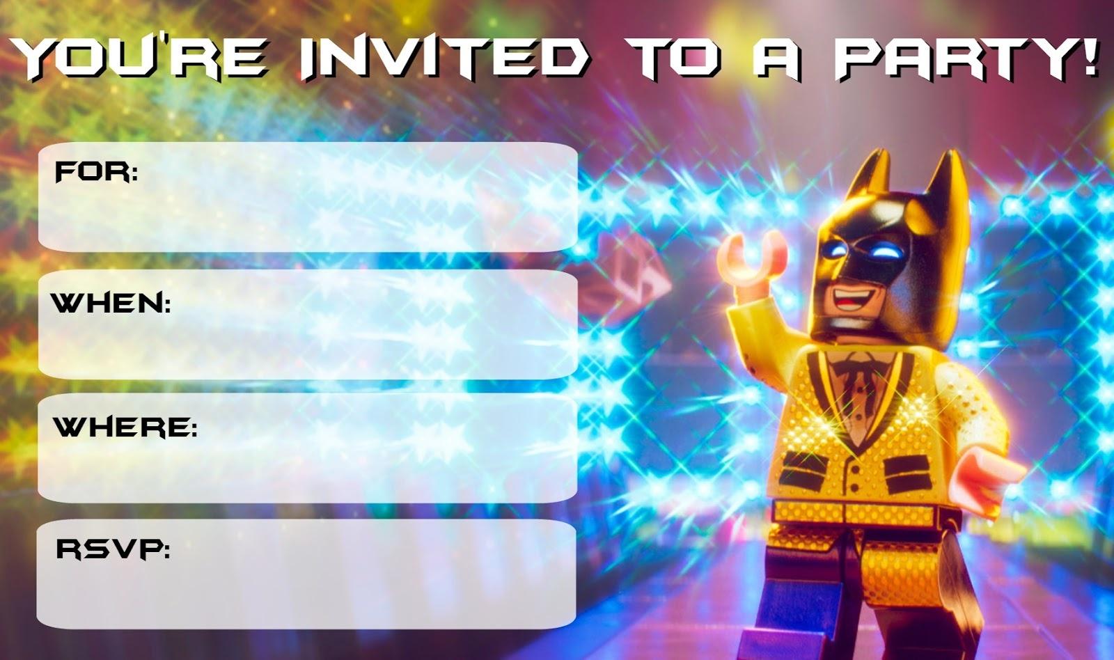 Musings Of An Average Mom: Lego Batman Movie Party Invitations - Lego Batman Invitations Free Printable