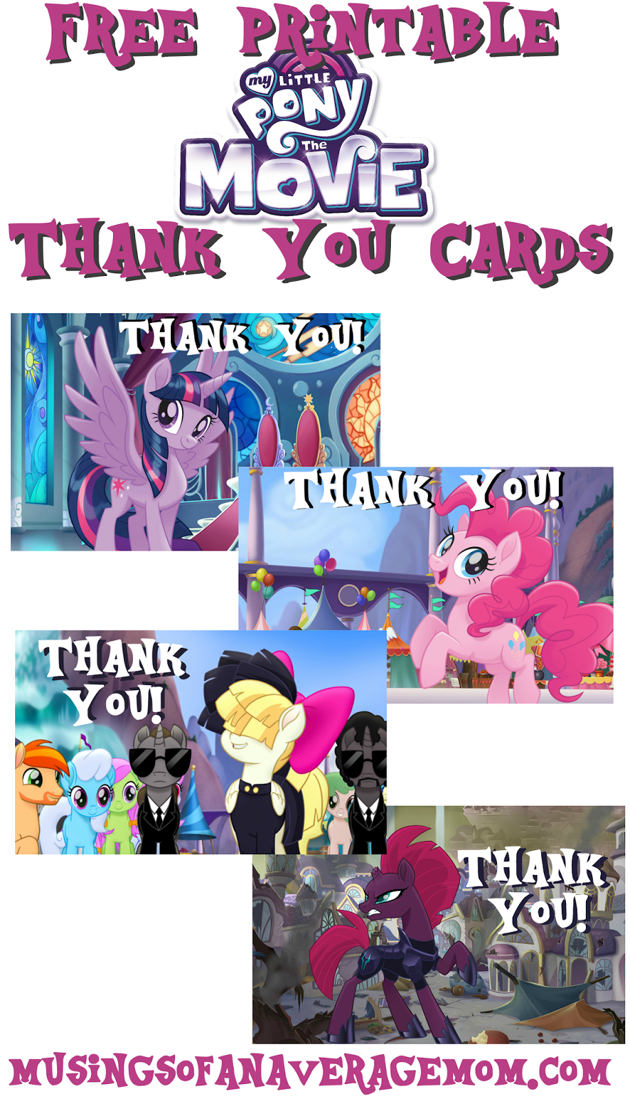 Musings Of An Average Mom: My Little Pony Movie Thank You Cards - Free Printable My Little Pony Thank You Cards