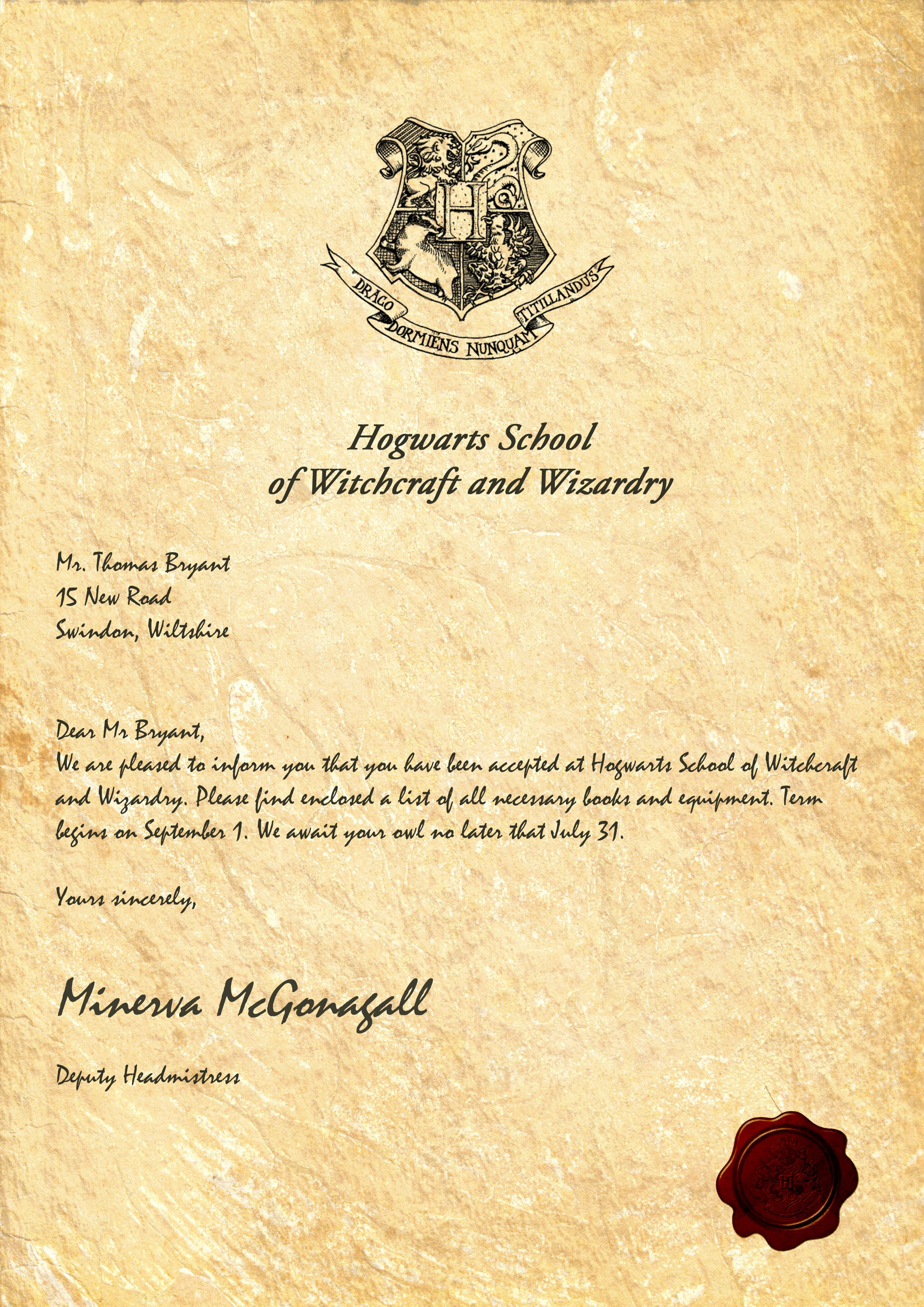 My Hogwarts Acceptance Letter Sadly My Owl Died From The Long Fly - Hogwarts Acceptance Letter Template Free Printable