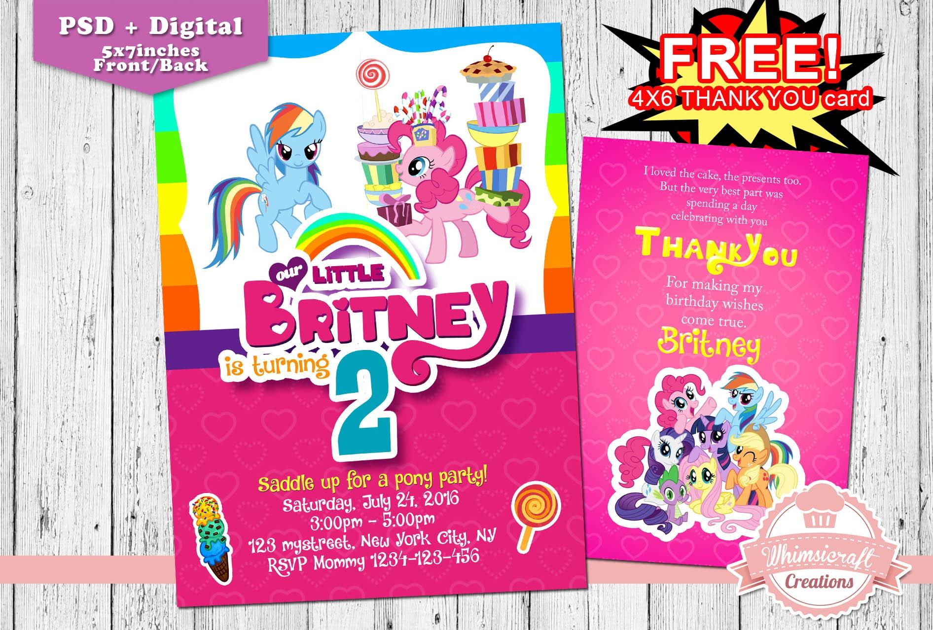 My Little Pony Invitation, My Little Pony Birthday Invitation - Free Printable My Little Pony Thank You Cards