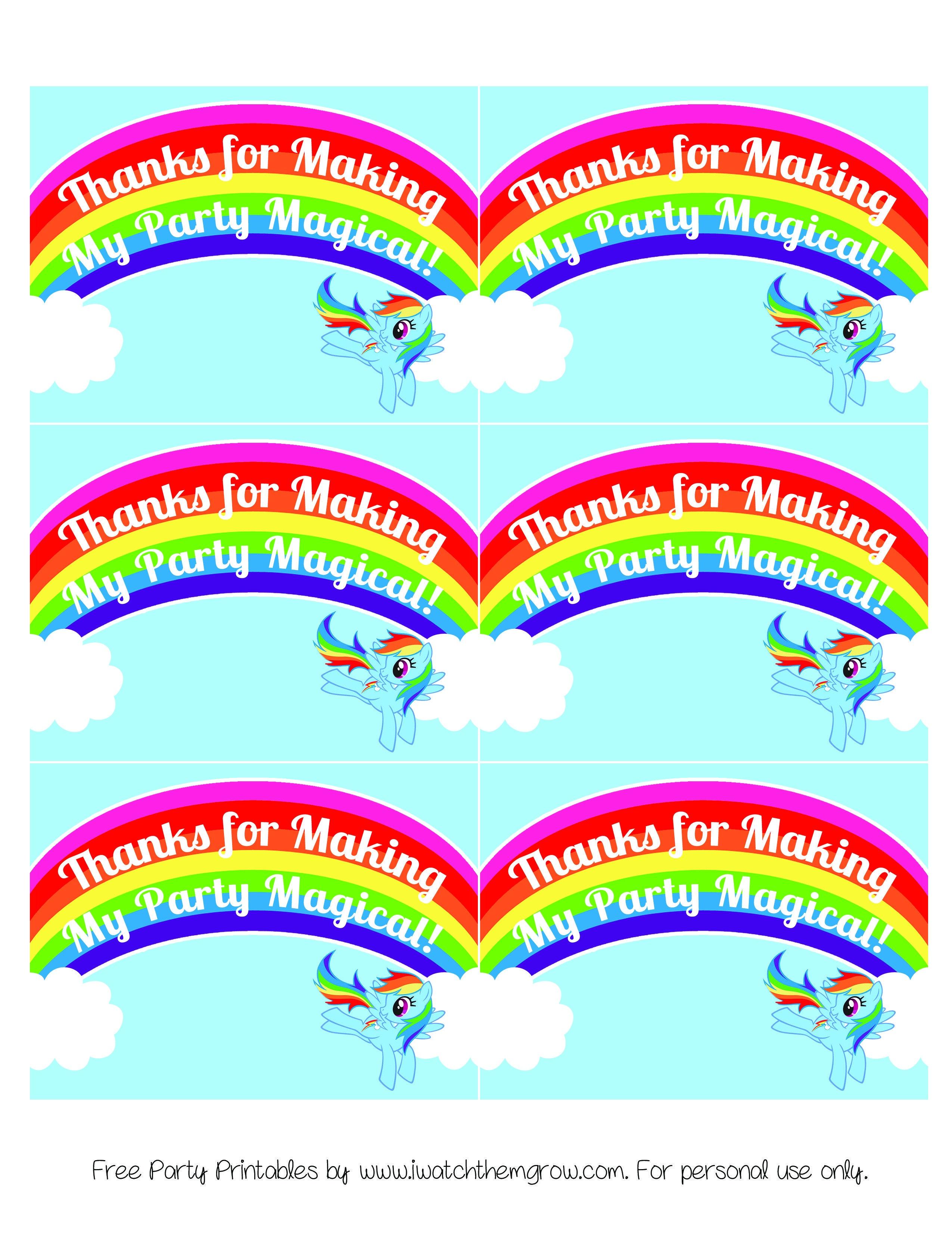 My Little Pony Rainbow Dash Birthday Party Printables | My Little - Free Printable My Little Pony Thank You Cards