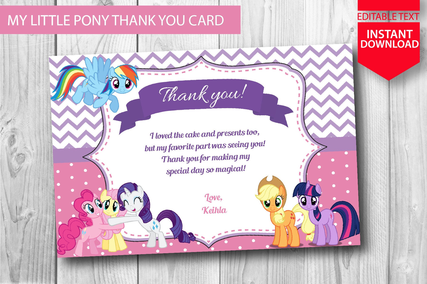 My Little Pony Thank You Card Instant Download Editable | Etsy - Free Printable My Little Pony Thank You Cards