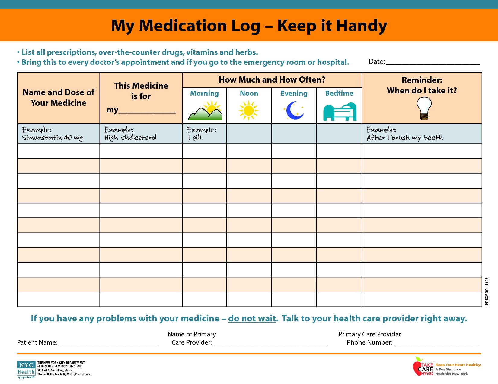 My Medication Log - Keep It Handy | Alternative Medicine | Daily - Free Printable Daily Medication Schedule