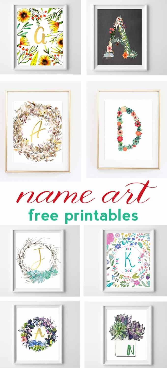 Name Art And Alphabet Printables {Free Printable Art} - Free Printable Art